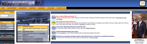 A screenshot of the citys current website