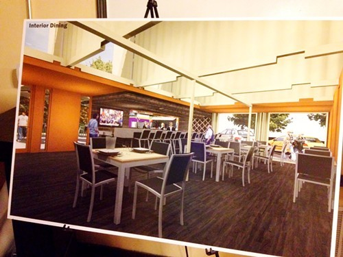 A shot of the planned interior dining space at Truck Stop
