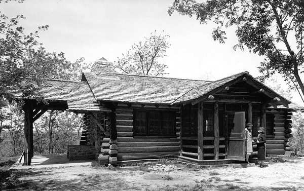 Above: People using the group camp in its heyday; Below: Lodge cabin in disrepair today - TENNESSEE STATE ARCHIVES/BIANCA PHILLIPS