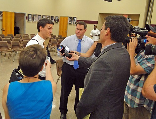 Advisory Committee nominee Kiel meets with media.
