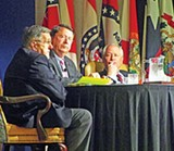 Among the speakers at the 2011 Southern Legislative Conference, which was held at the Peabody from Saturday through Tuesday, were pundits Mark Shields (far left) and Bill Kristol (right). Moderating was state Senate majority leader Mark Norris (R-Collierville), who was chair for the annual event, which drew legislators from 15 states.