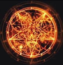 An artists depiction of a flaming pentagram