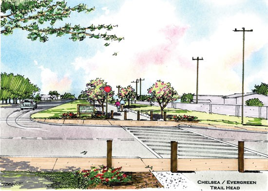 An artist's rendering of the New Chicago greenline's trailhead at Chelsea and Evergreen.