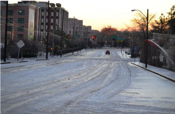 An icy road in Downtown Memphis this week. - SHELBY COUNTY OFFICE OF PREPAREDNESS