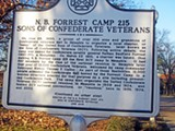 Another sign at Forrest Park touts the N.B. Forrest 215 chapter of the Sons of Confederate Veterans.