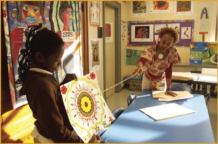 Artist Lurlynn Franklin teaches symmetry at Lincoln Elementary. - BY JUSTIN FOX BURKS