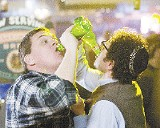 Athletes in training: Kevin Hefferman (left) and Steve Lemme chug beer for team America