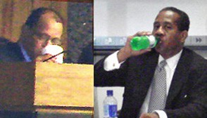 Beating the Heat: Shelby County Commissioner Michael Hooks (left) and Election Commissioner O.C. Pleasant each sipped liquid refreshments during their respective meetings on Monday. Minutes after this picture was snapped, outgoing commissioner Hooks, whose Tennessee Waltz trial begins next week, announced his resignation effective 12:01 a.m., next Monday, August 21. - JB