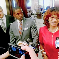 Facing the Cameras Beleaguered Juvenile Court Clerk candidate Henri Brooks and lawyers at impromptu press conference regading her County Commission residence issue JB