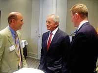 "Bob Corker (center) at a recent meeting in Memphis for a ""business roundtable"" at Regions Bank."