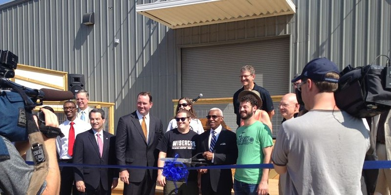 Sneak Peek at Wiseacre Brewing Company Brewers Kellan and Davin Bartosch join community leaders, bankers, and Mayor A C Wharton as they cut the ribbon at Wiseacre Brewing Company.