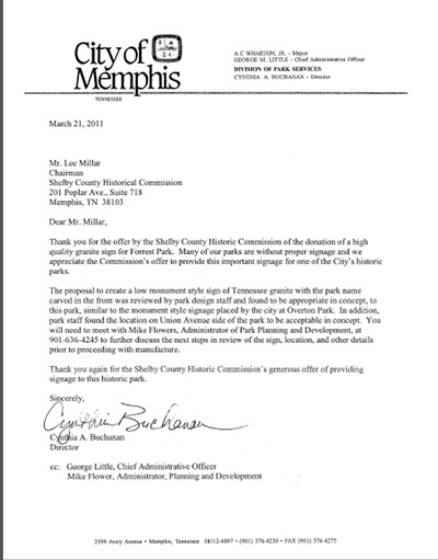 Buchanan's 2011 authorizing letter to Millar (addressed to him as a representative of the Tennessee Historical Association).