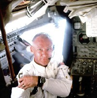 Buzz Aldrin in a scene from In the Shadow of the Moon
