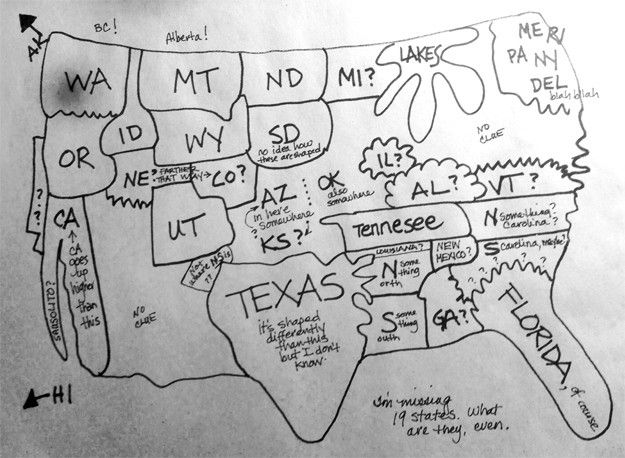 Can You Draw A Map Of The United States The BruceV Blog - Al franken draws us map