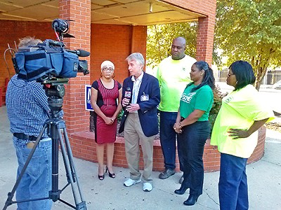 Candidate Mulroy faces camera after getting AFSCME endorsement. - AMY MULROY