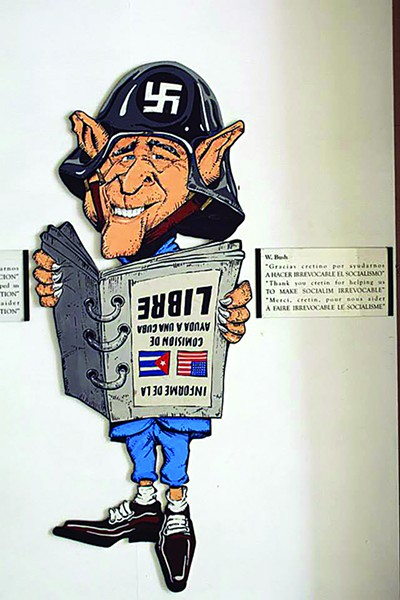 Caricature art showing the animosity between Cuba and the U.S. in the Rincon de las Cretinos.