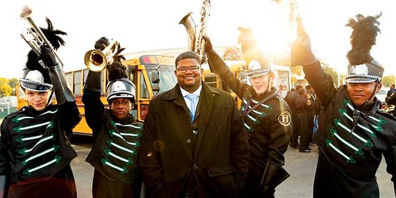 Central High School band director Ollie Liddell with students