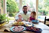 Chef Ryan Trimm eats lunch with son Thomas and daughter Emma Kate at their home in East Memphis.