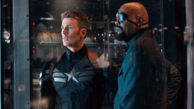 Chris Evans and Samuel L. Jackson in Captain America: Winter Soldier