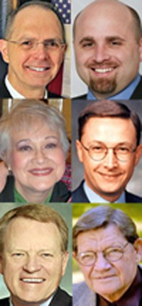 clockwise, from top left: Flinn, Stephens, Taylor, Willingham, Sammons, Loeffel