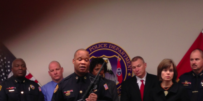 MPD Director Toney Armstrong holds seized AR-15