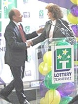 Cohen with Lottery director Rebecca Paul in 2005