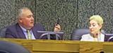 Commissioners Billingsley (left) and Shafer discussing the Poplar Plaza incident. - JACKSON BAKER
