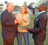 "JB -  - Comparing notes at Thursday's annual ""coon supper,"" hosted by state House Speaker Jimmy - Naifeh in Covington were three first-year legislators from Shelby County. L to R: Republican Jim Coley and Democrats Mary Wilder and - G.A. Hardaway."