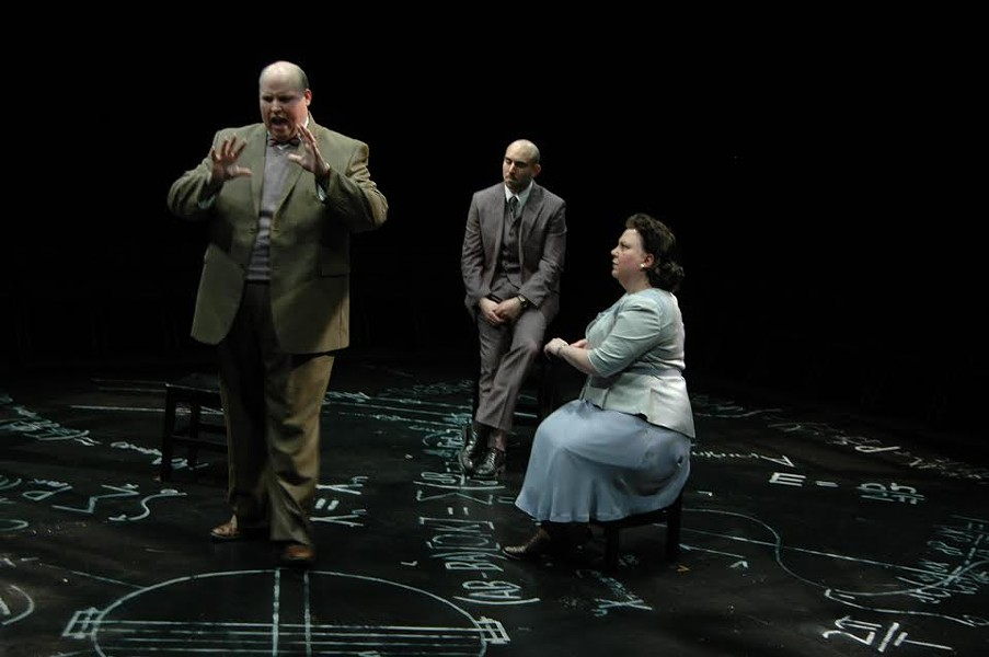 Jason M. Spitzer, Gregory Alexander and Mary Buchignani portray real life characters in the afterlife at the center of a debate concerning memory, science and morality in Copenhagen, February 13 - March 1, 2015, in the Next Stage at Theatre Memphis.