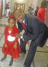 JB - Corey Maclin, candidate for Shelby County clerk, took a major supporter, daughter Carmen, with him to the Election Commission to file.
