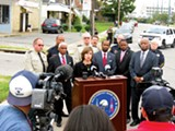 D.A. Amy Weirich announces the new gang injunction at a press conference.