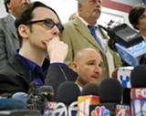 Damien Echols and Jessie Misskelley address reporters.