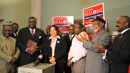 Deidre Malone with ministers at election eve  rally