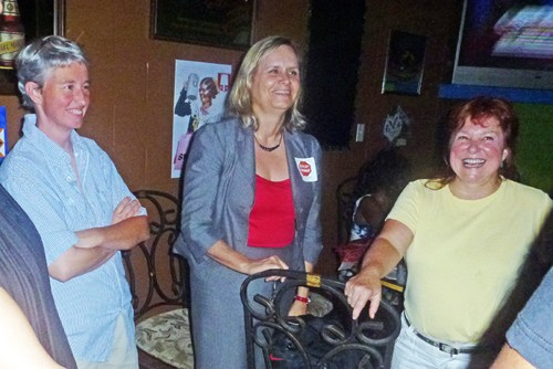 Democrat Carol Chumney (center) and her support group maintained good cheer as Chumney conceded defeat in the D.A.s race, which Chumney said would be her last foray in elective politics as a candidate.