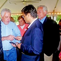 Chutzpah on Display Democratic County Commission candidate Manof Jain crashing a GOP campaign even as his Republican opponent, the bemused Steve Basar, looks on JB