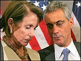 Democratic House leaders Nancy Pelosi and Rahm Emmanuel after the vote