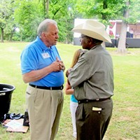Sidney Chism Picnic 2013 Democratic U.S. Senate candida Larry Crim chats with Chism JB