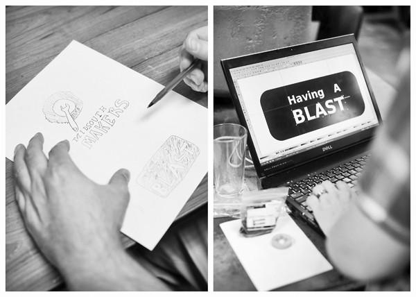 Designing a stencil to be sandblasted onto a pint glass - JUSTIN FOX BURKS