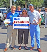 JB - Distist 9, 3 candidate Desi Frankling is bookended by 9, 2 rivals Frank Langston and Kemp Conrad at a heavily frequented White Station site.