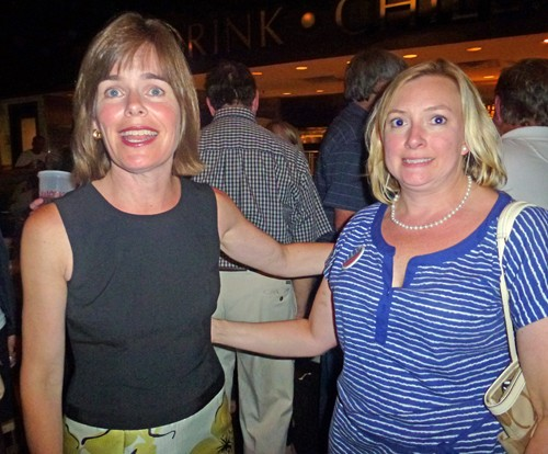 District Attorney General Amy Weirich (left) and campaign spokesperson Kim Perry were all smiles at the victorious D.A.s victory celebration at Swankys Taco Shop in Germantown.