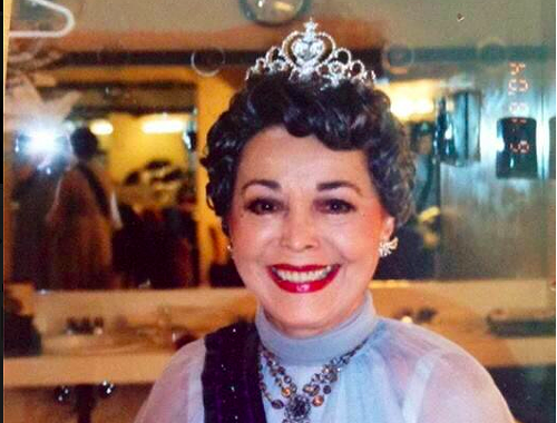 Dorothy in the Dressing room. In a tiara.