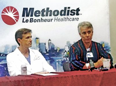 Dr. Eason and Mulroy after the Commissioners recent surgery