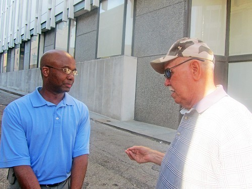 Fartin' in the wind... Martavius Jones and Colonel Dotson in their street-corner dialogue