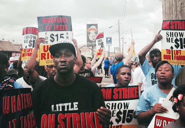 Fast-food workers demonstrated on - Poplar during a strike last week. - CHRIS SHAW