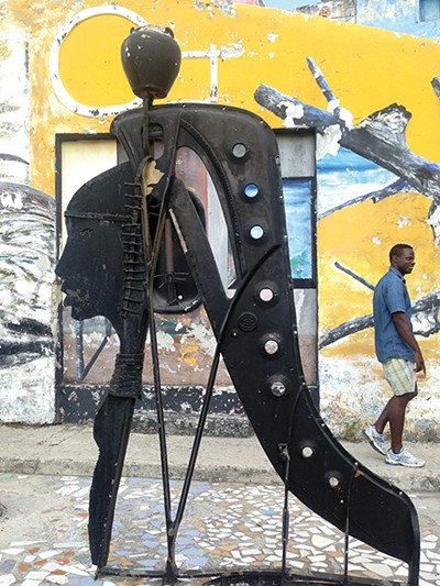 Found-object art in the alley of the Callejón de Hamel, which showcases the Afro-Cuban culture.