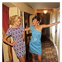 """The Art of the Sell Frock! purple circle dress, from Runway, with Sam Edelman """"York"""" pumps, from Strut; French Connection one-shoulder turquoise dress, from Runway, with shoes model's own Justin Fox Burks"""