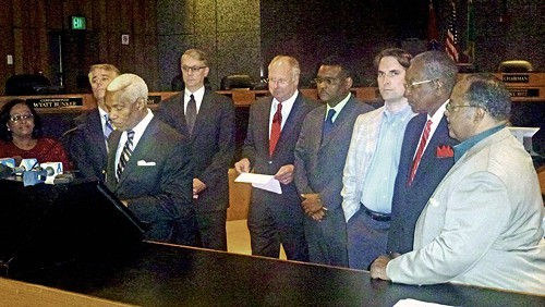 from left: Patrice Robinson, Steve Mulroy, Mayor Wharton, Chris Caldwell, Mike Ritz, Melvin Burgess, Shea Flinn, Sidney Chism, and Myron Lowery. Also present was Walter Bailey.