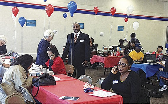G.A. Hardaway (center) and other Democrats doing pre-election work earlier this month
