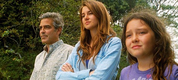 George Clooney, Shailene Woodley, and Amanda Miller