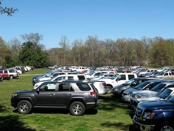 Get Off Our Lawn wants to end overflow parking like this on the Overton Park Greensward.